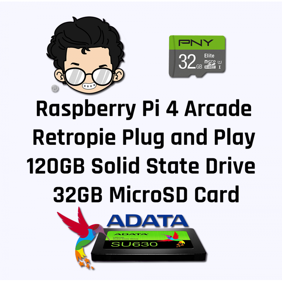 Raspberry Pi Arcade Model 4B 120GB SSD 32GB MicroSD Card
